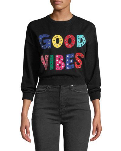 Leena Embellished Cropped Sweatshirt