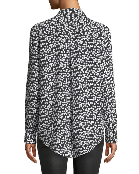 Equipment Hearts Silk Printed Button-Front Shirt