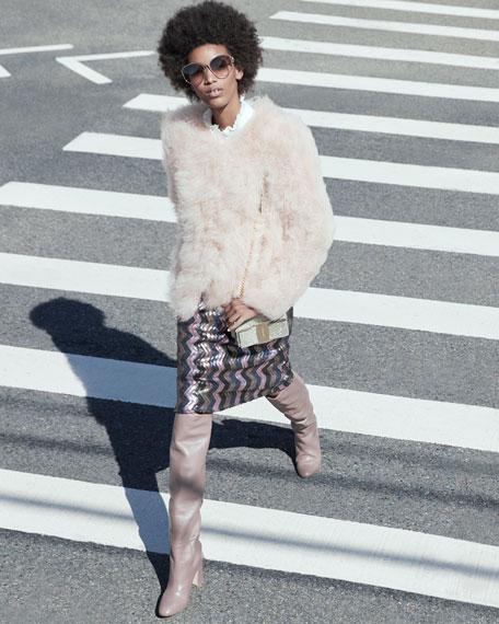 Belle Fare Knit Ostrich Feather Jacket