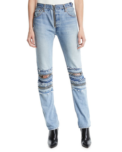 Mid-Rise Straight-Leg Moto-Style Jeans