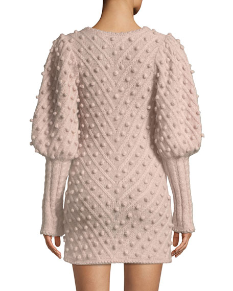 Fleeting Bauble Blouson-Sleeve Body-Con Dress