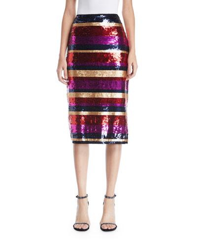 Cava Striped Sequin Skirt