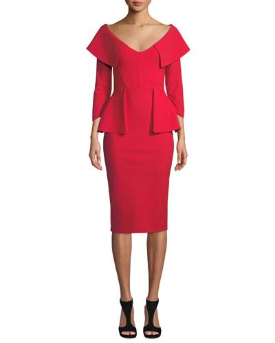 Hande Collared Peplum Dress