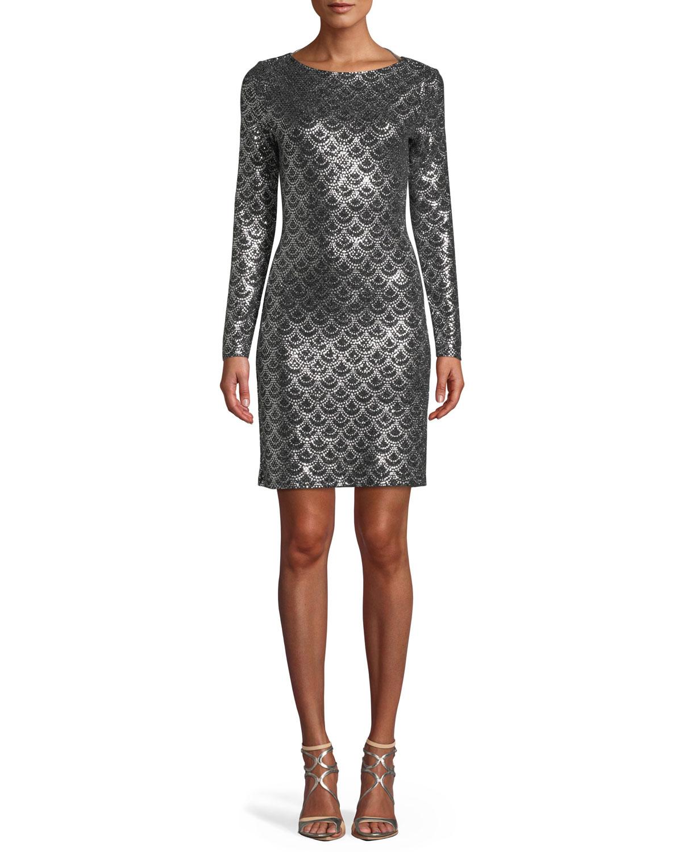 6bbf96aabd2 MICHAEL Michael Kors Long-Sleeve Cowl-Neck Sequin Dress