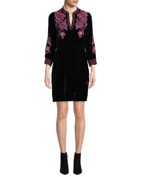 Johnny Was Marcella Embroidered Henley Dress