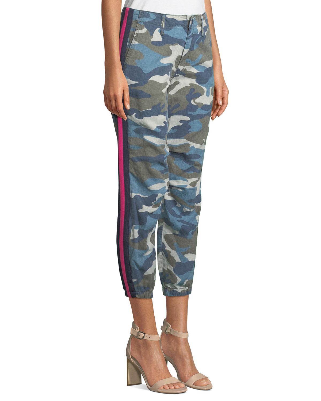 8de55b41d6225 MOTHER Misfit Camo-Print Racer Stripe Cropped Pants   Neiman Marcus