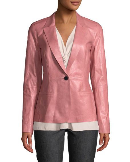 Lafayette 148 New York Nikala Glazed Lambskin Jacket