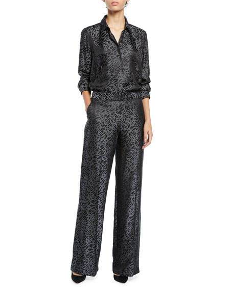 Equipment Arwen Wide-Leg Leopard-Print Trousers