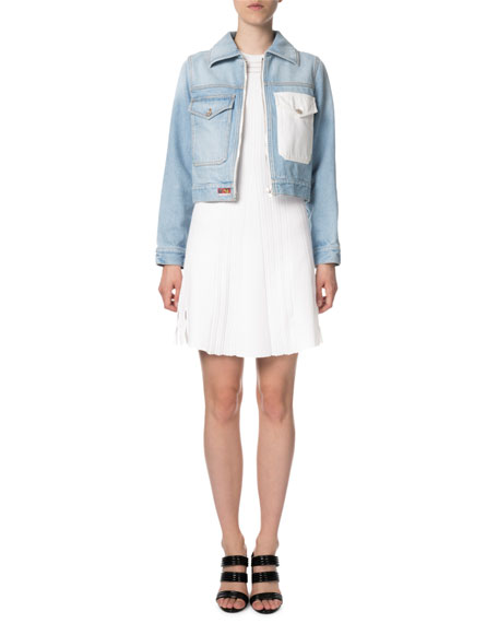 Zip-Front Cropped Denim Jacket with Embroidery