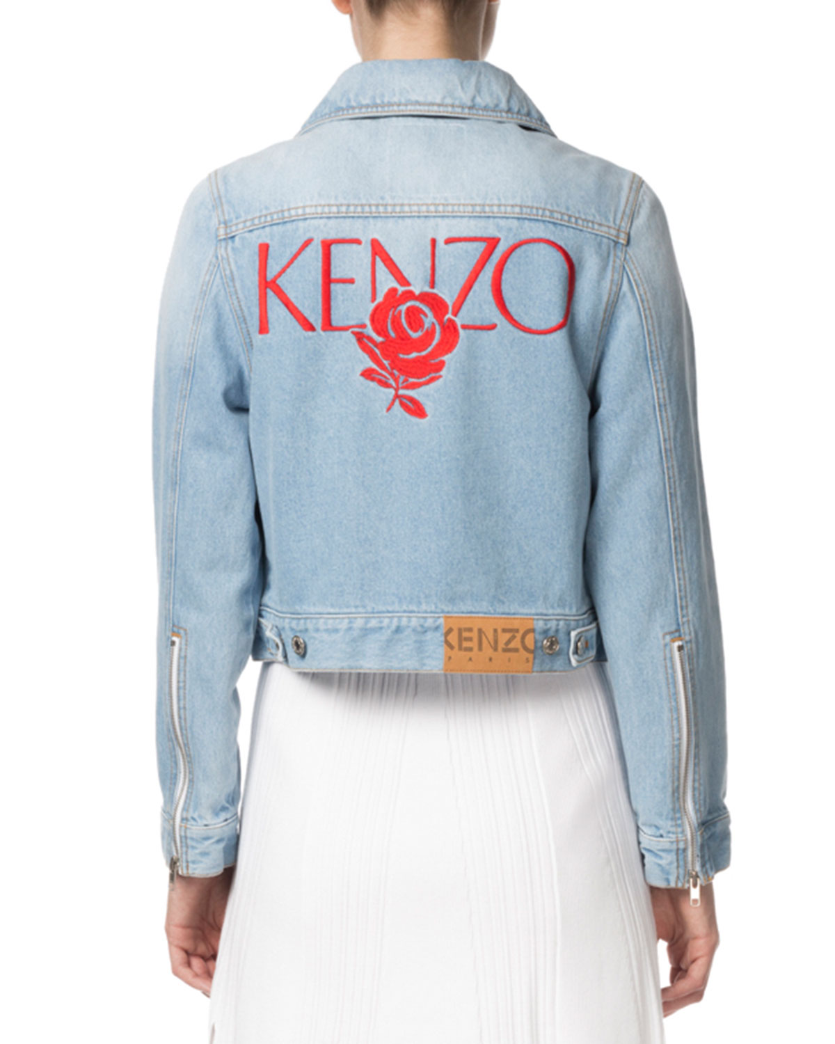 Kenzo Zip Front Cropped Denim Jacket With Embroidery Neiman Marcus