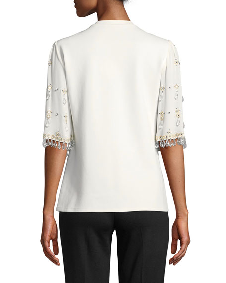 Kobi Halperin Daria Blouse with Embellished Sleeves
