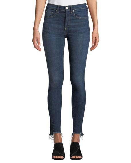 Rag & Bone High-Rise Chewed-Hem Ankle Skinny Jeans