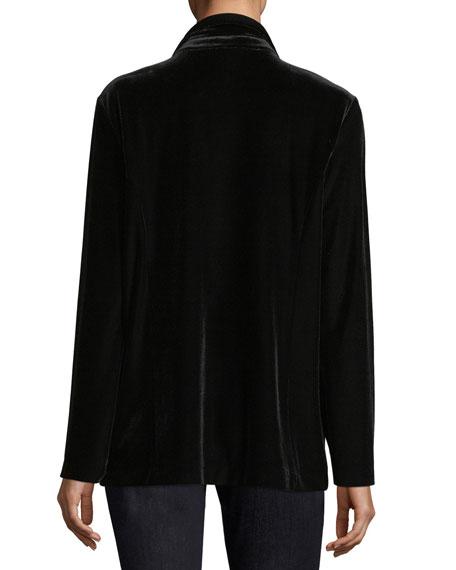 Joan Vass Stretch-Velvet Two-Button Blazer