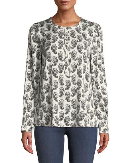 Kobi Halperin Madeline Split-Neck Long-Sleeve Paisley-Print Blouse