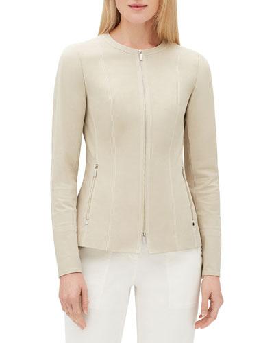 Janella Long-Sleeve Zip-Front Fundamental Bi-Stretch Jacket