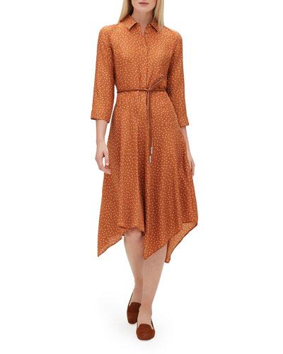Rizzo 3/4-Sleeve Brilliant Boxes Silk Dress w/ Belt