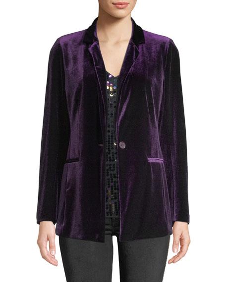 JOAN VASS One-Button Velvet Jacket, Plus Size in Purple