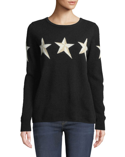Metallic Star Cashmere Pullover Sweater