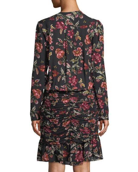 A.L.C. Haven Shirred Floral Silk Cocktail Dress