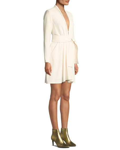 A.L.C. Kiera Belted Crepe Long-Sleeve Dress