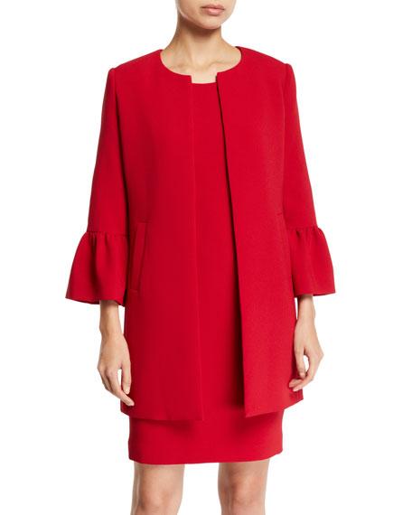 ALBERT NIPON Two-Piece Trumpet-Sleeve Coat & Mini Dress Set in Red