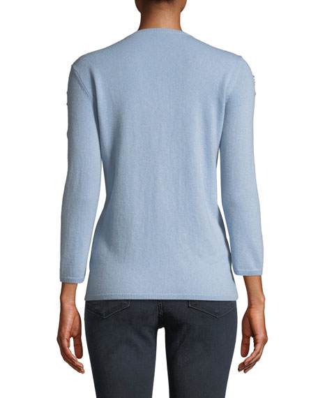 Neiman Marcus Cashmere Collection 3/4-Sleeve Embellished-Shoulder Cashmere Sweater