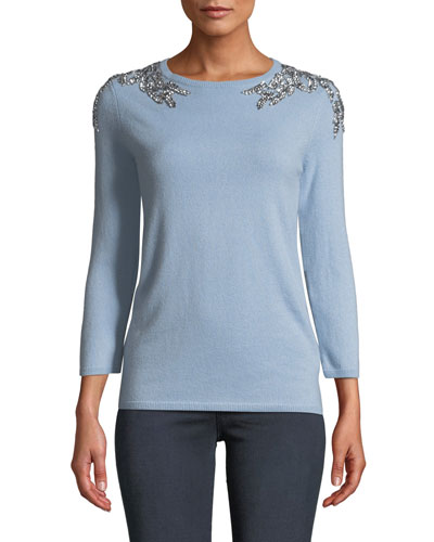 3/4-Sleeve Embellished-Shoulder Cashmere Sweater