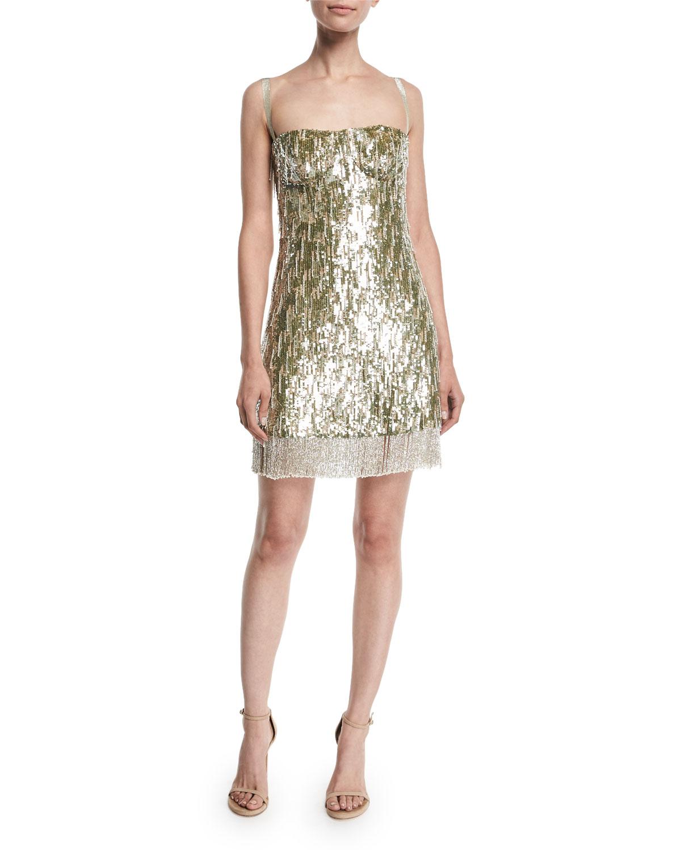 Alexis Izabell Sequined Fringe Cocktail Dress Neiman Marcus