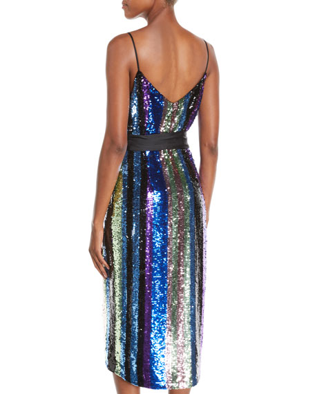 Aidan by Aidan Mattox Sequin Stripe Sleeveless Wrap Dress