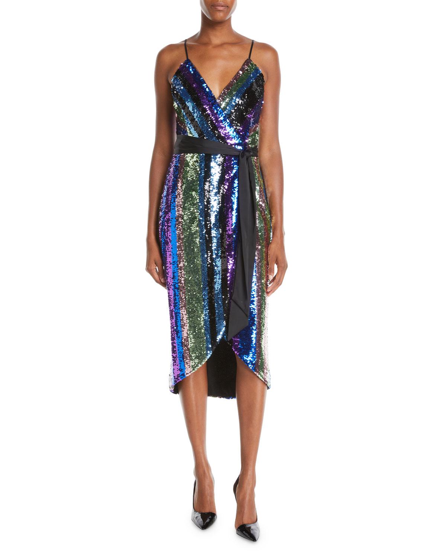 ae4bd4dbeb Aidan by Aidan Mattox Sequin Stripe Sleeveless Wrap Dress