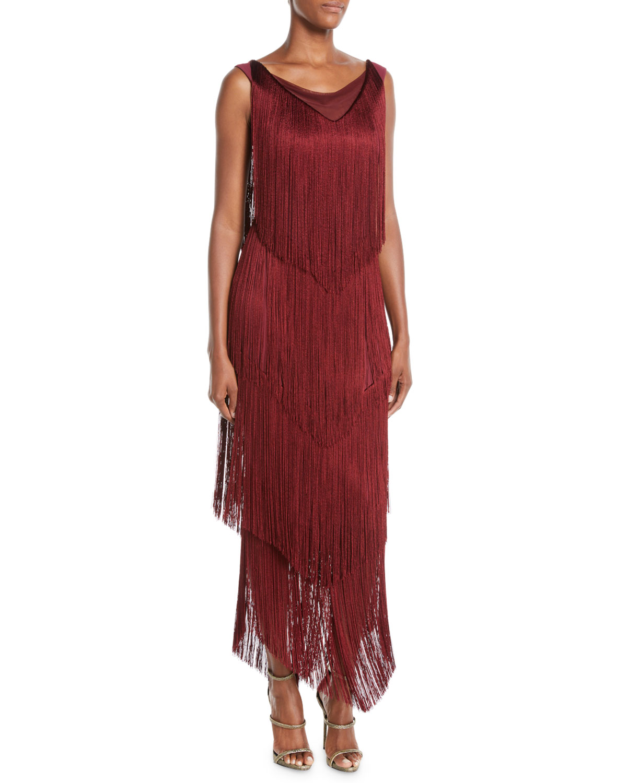 5c0670226b Chiara Boni La Petite Robe Casilda Tiered-Fringe Column Dress ...