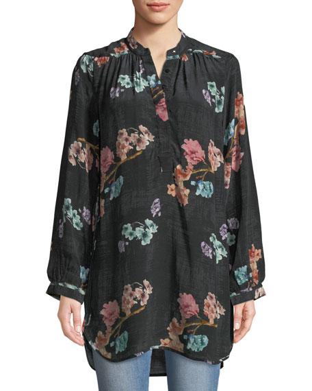 Tolani Natasha Botanical-Print Long-Sleeve Tunic