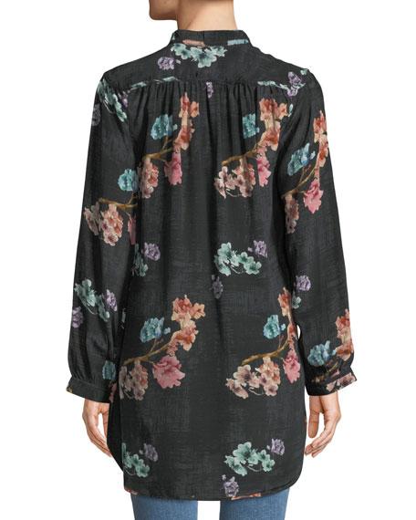 Tolani Plus Size Natasha Botanical-Print Long-Sleeve Tunic