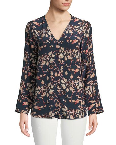 Tolani Greer Foliage-Print Button-Front Silk Blouse