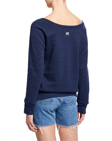 Milly Salty Boat-Neck Pullover Sweatshirt