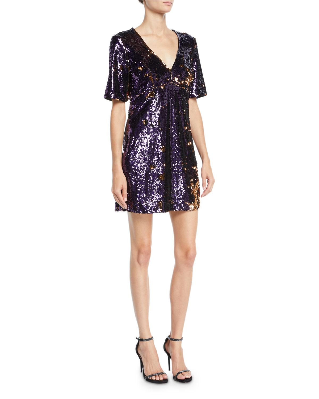 a09193350e8 Bardot Sequined V-Neck Short-Sleeve Cocktail Dress