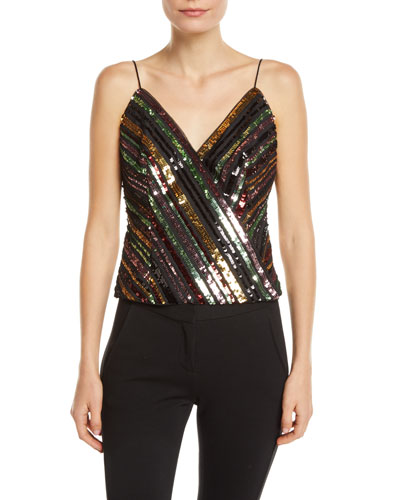 Sequin Striped Wrap Top