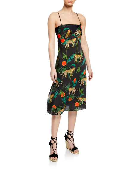 Milly Jungle-Print Cross-Back Sleeveless Twill Dress