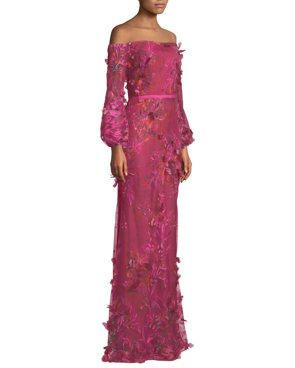 60c1bea00603 Marchesa Notte Off-the-Shoulder Bishop-Sleeve 3D Floral-Embroidered Gown |  Neiman Marcus