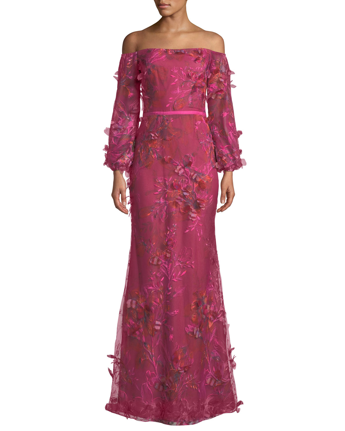 7fb0695a Marchesa Notte Off-the-Shoulder Bishop-Sleeve 3D Floral-Embroidered Gown