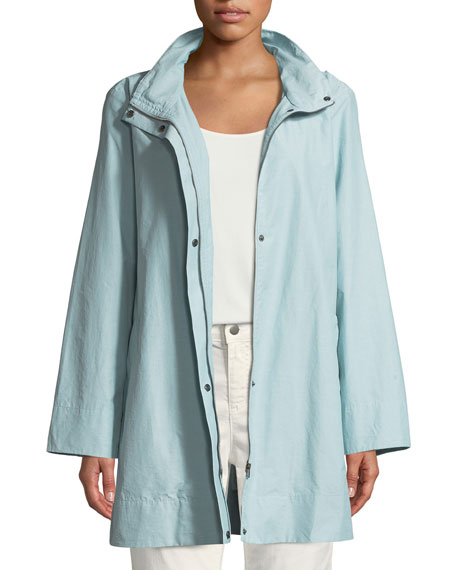 Eileen Fisher Hooded A-Line Long Outerwear Jacket, Petite