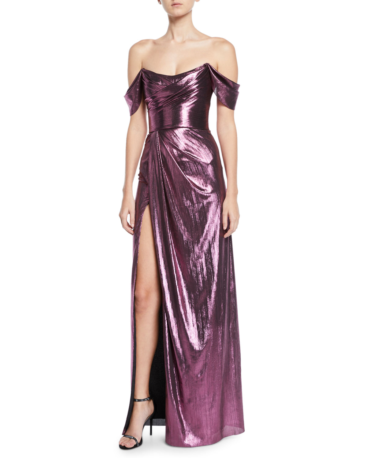 Off The Shoulder Metallic Lame Draped Gown by Marchesa Notte