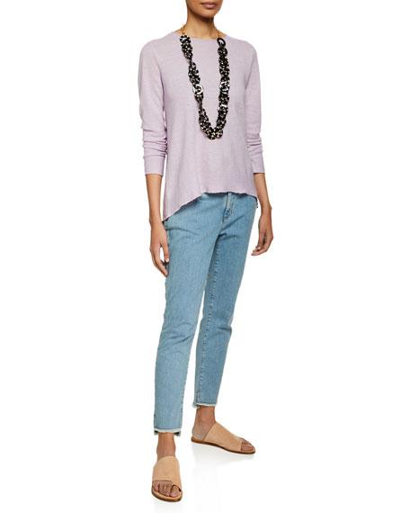 Eileen Fisher Soft Denim Raw-Edge Ankle Jeans