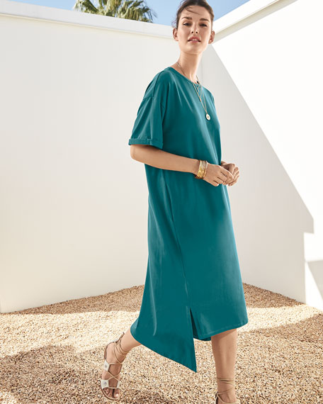Eileen Fisher Short-Sleeve Stretch Jersey High-Low Dress