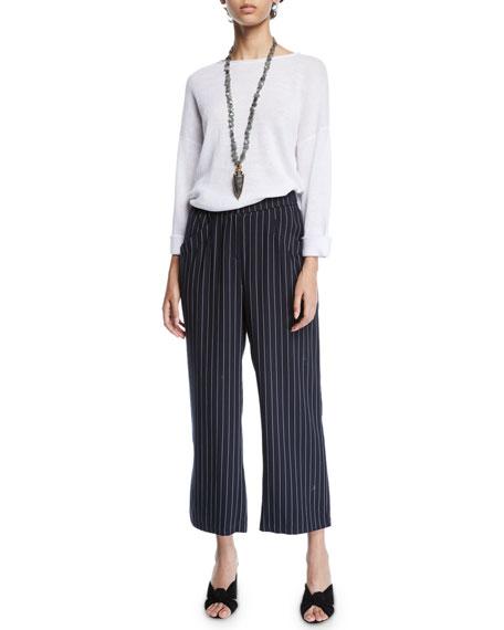 Eileen Fisher Plus Size Tencel® Cropped Wide-Leg Striped Pants