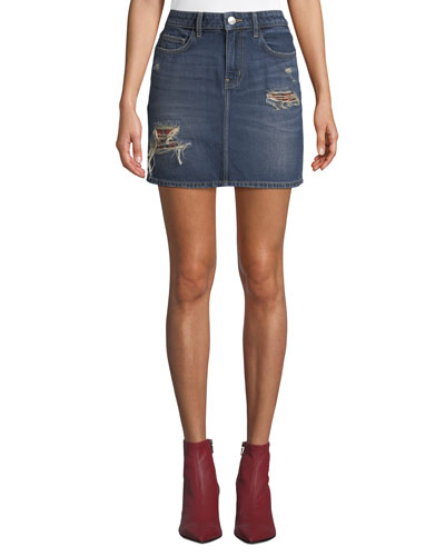 The 5-Pocket Distressed Denim Mini Skirt
