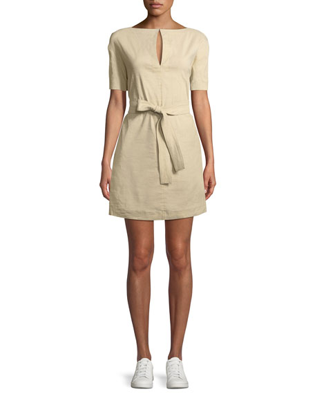 Theory Belted Crunch Wash Shift Dress w/ Self-Tie