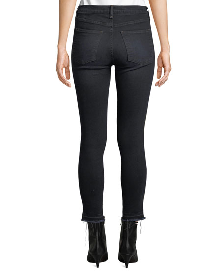 "Veronica Beard Debbie 10"" Rise Skinny Jeans with Tuxedo Stripes"