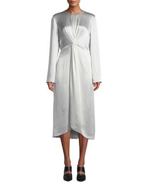 1ded233592c Vince Twist-Front Long-Sleeve Silk Midi Dress