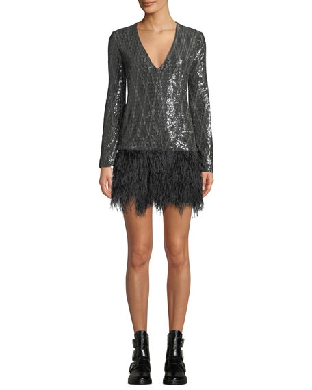 Le Superbe Giorgios Metallic Short Dress with Ostrich Feathers